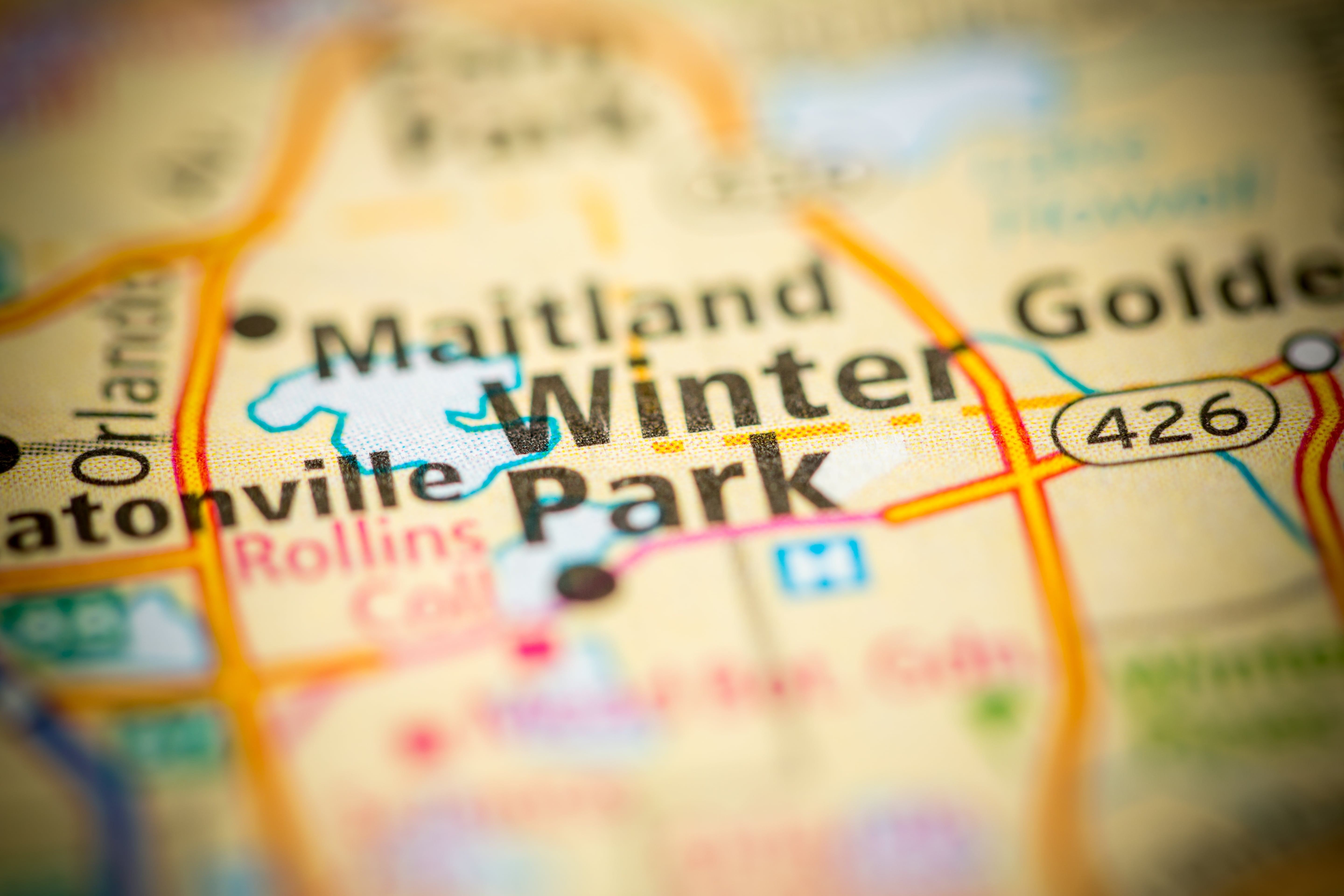 A map with emphasize and focus word: Winter Park